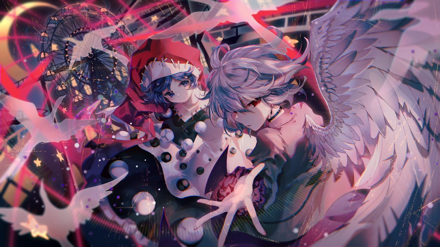 2girls animal bird blue_eyes blue_hair choker doremy_sweet kishin_sagume red_eyes touhou wings yasato