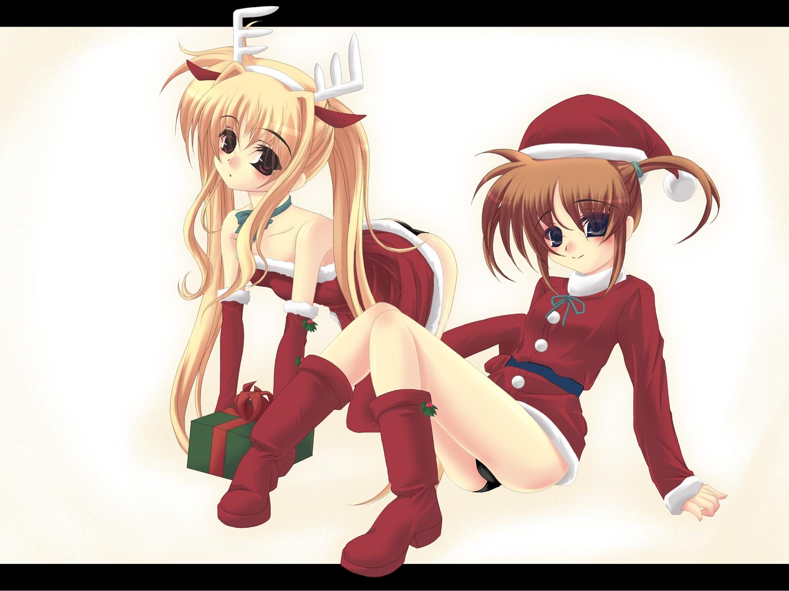 christmas fate_testarossa mahou_shoujo_lyrical_nanoha panties takamachi_nanoha underwear