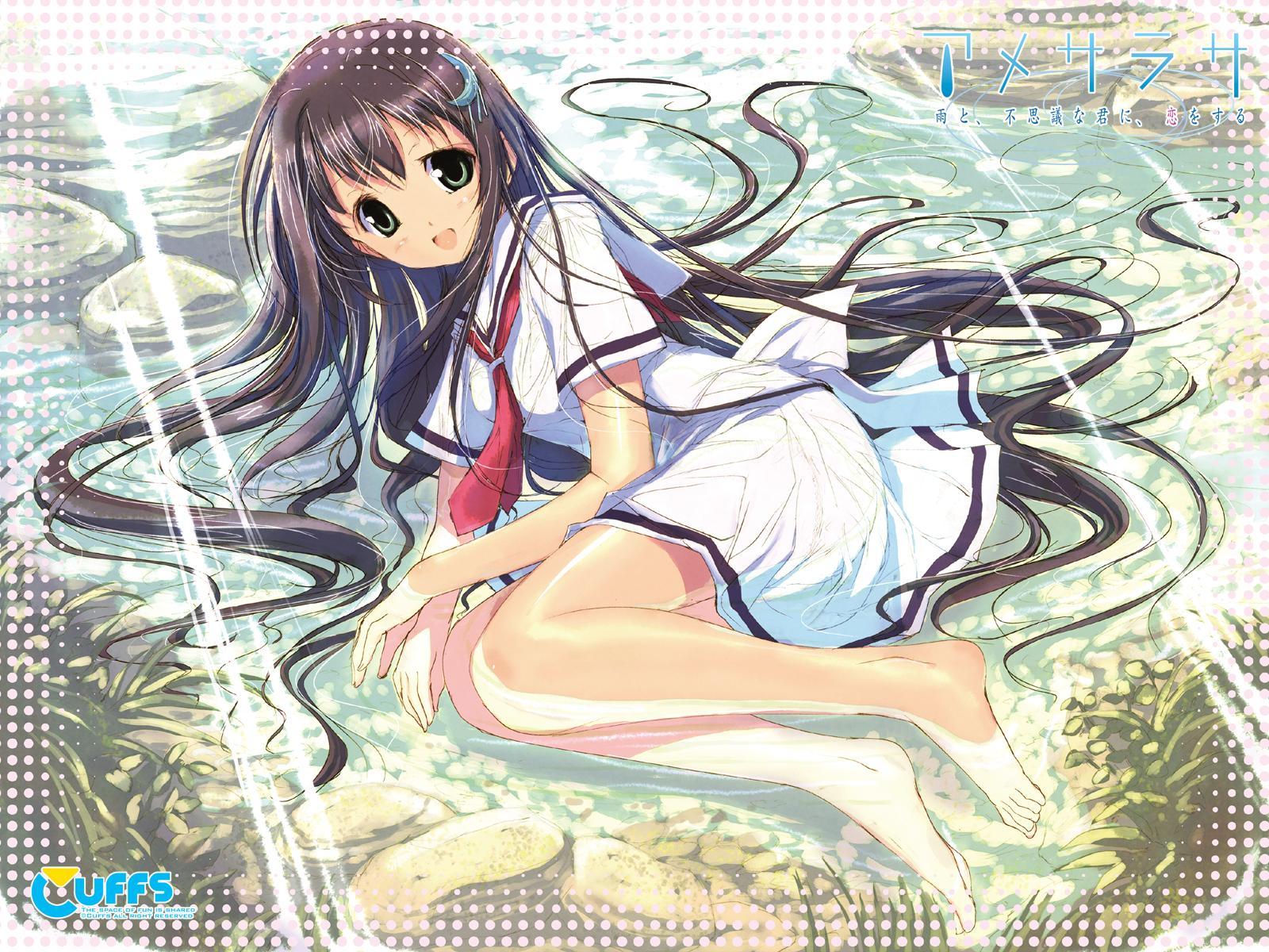 amesarasa barefoot brown_hair chiyokawa_rin cuffs_(studio) green_eyes long_hair school_uniform water