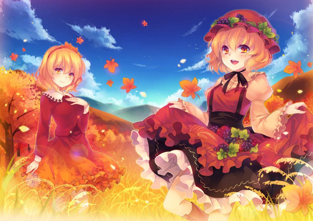 2girls aki_minoriko aki_shizuha autumn tagme_(artist) touhou