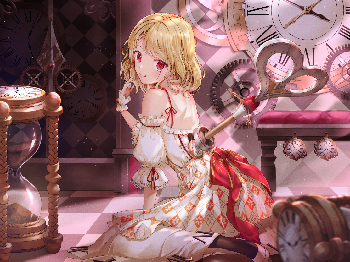 blonde_hair blood dress lolita_fashion lunacle original pantyhose red_eyes short_hair wristwear