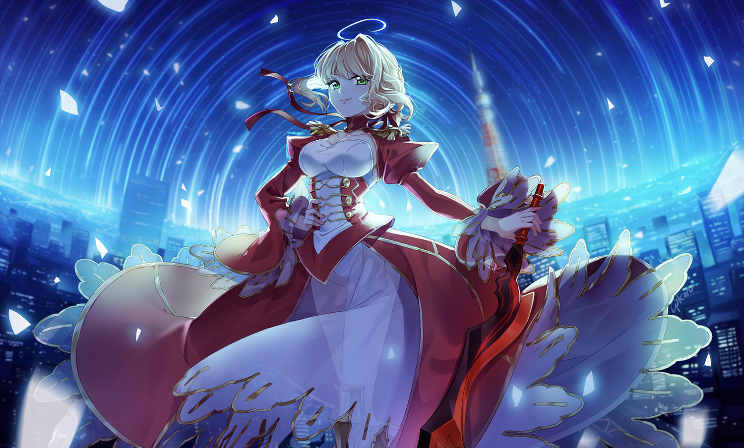 blonde_hair cpkon dress fate/grand_order fate_(series) green_eyes nero_claudius_(fate) short_hair sword weapon