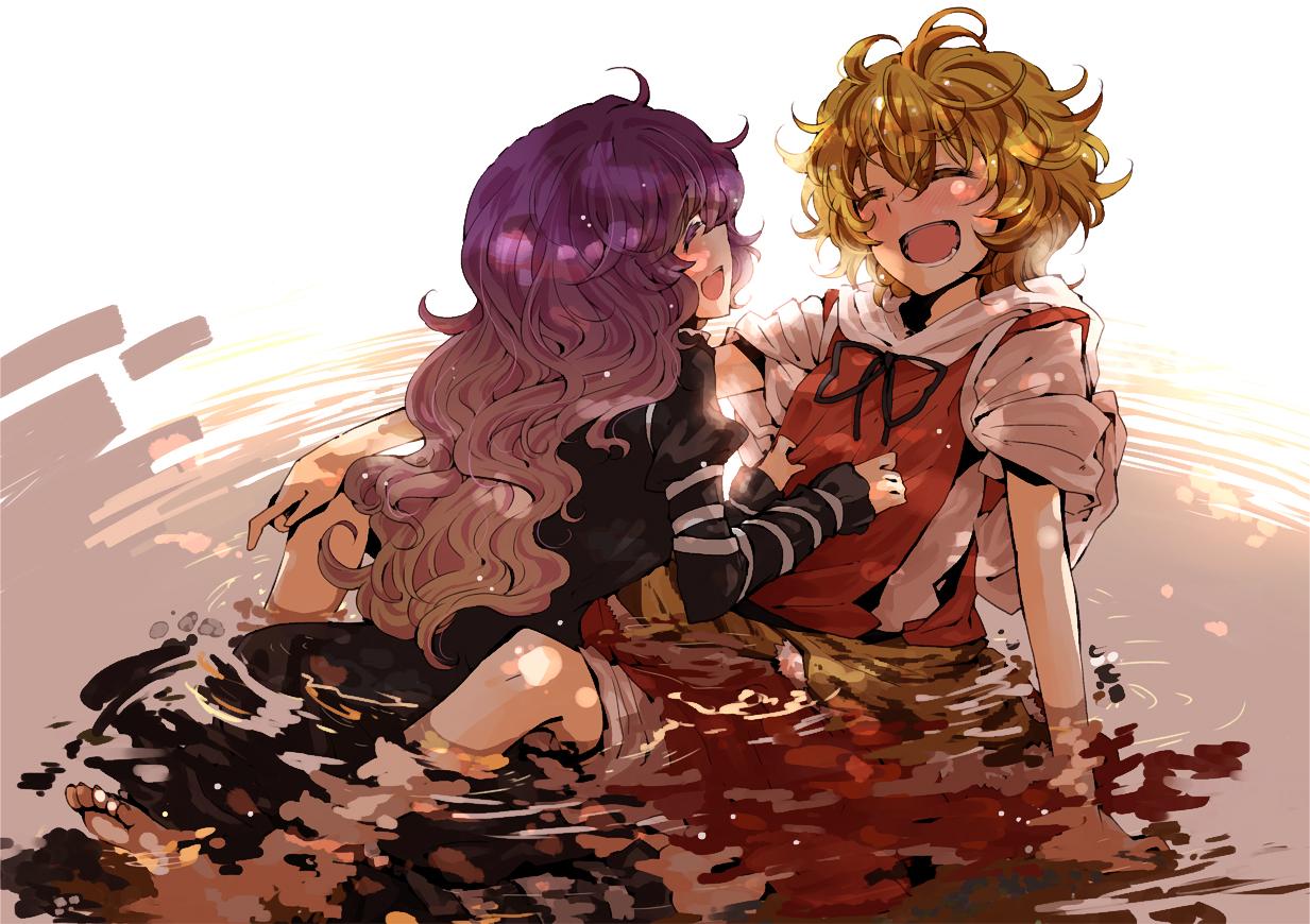2girls blonde_hair dress hijiri_byakuren myama toramaru_shou touhou water wet