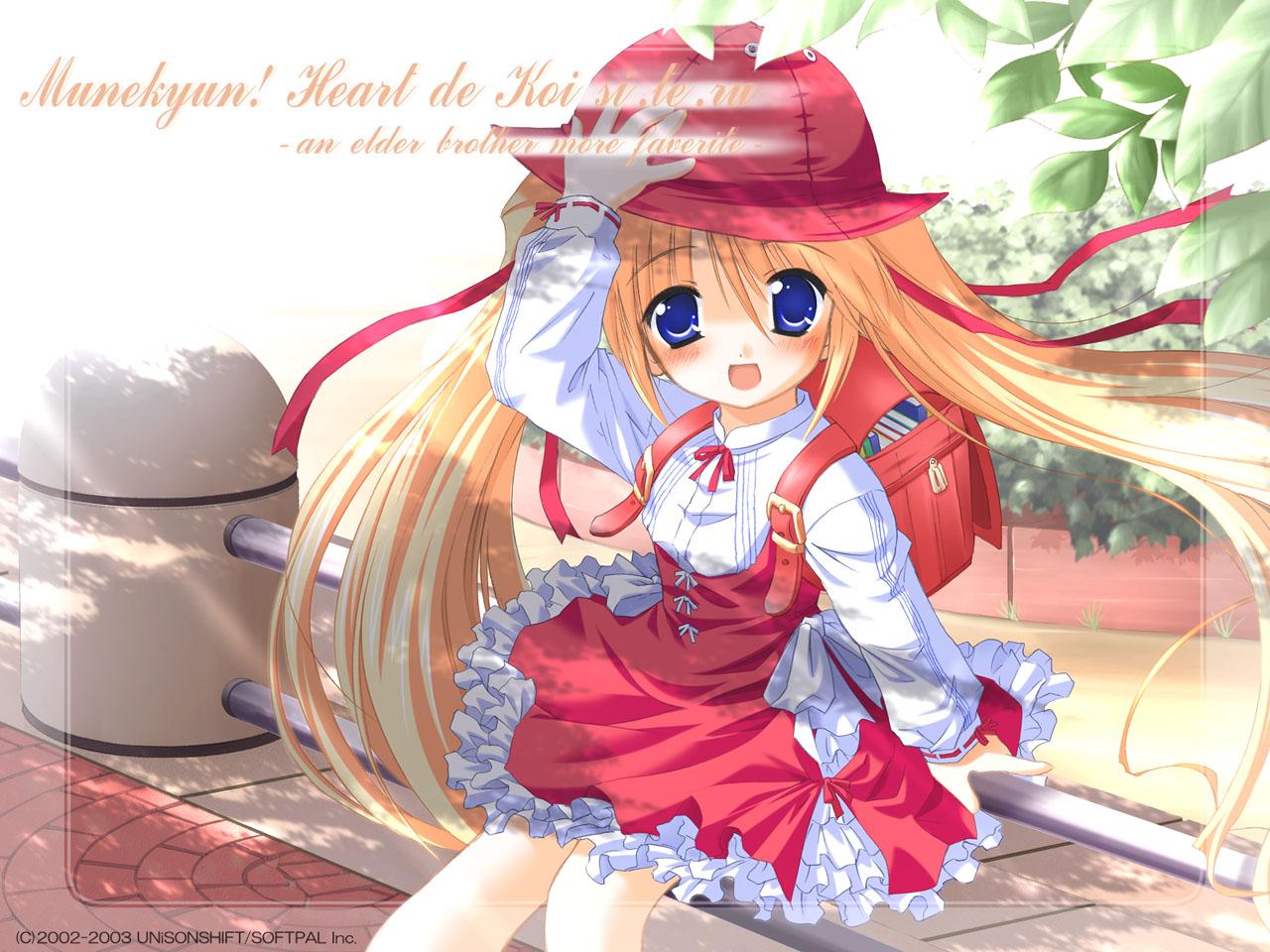 azuki_(munekyun_heart_de_koishiteru) blonde_hair blue_eyes blush hat loli munekyun_heart_de_koishiteru ribbons twintails