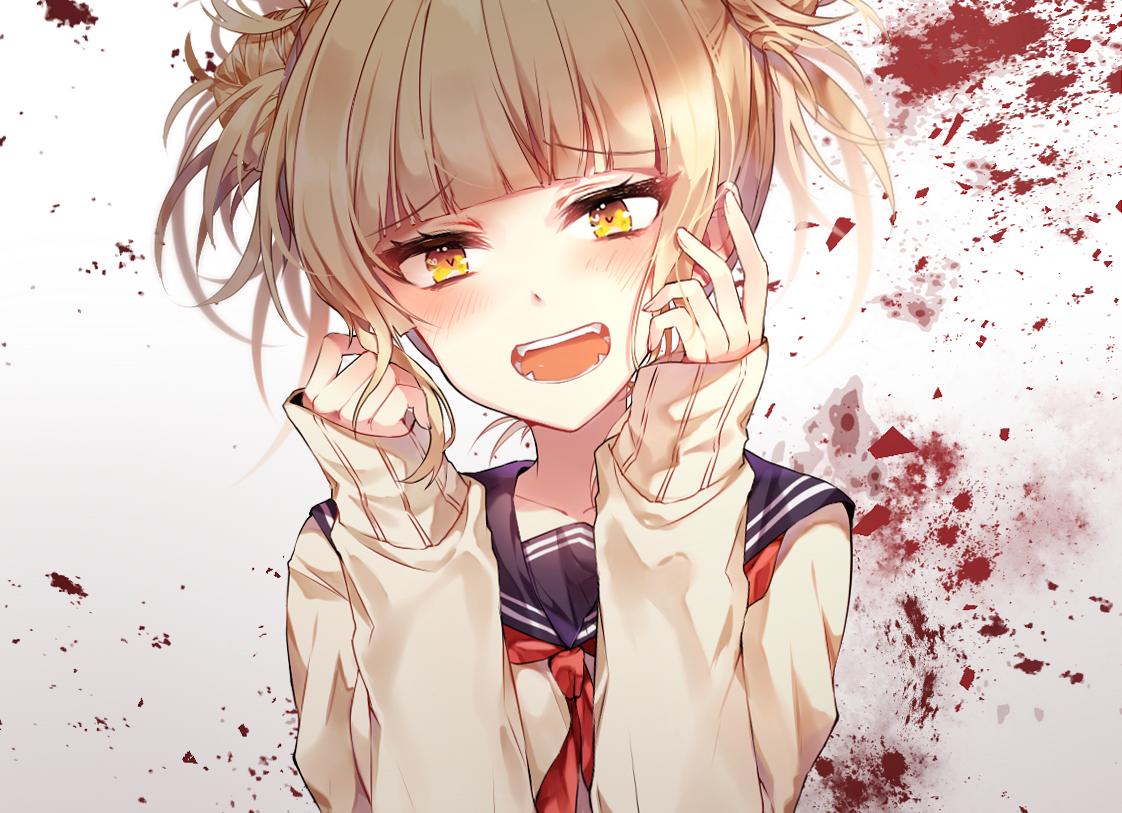 blonde_hair blood boku_no_hero_academia cropped school_uniform short_hair taya_(pixiv5323203) toga_himiko yellow_eyes