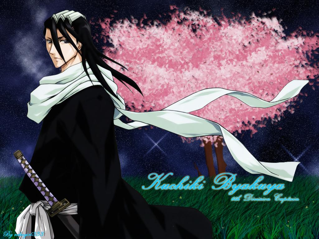 all_male black_eyes black_hair bleach grass headdress japanese_clothes katana kuchiki_byakuya long_hair male night petals scarf stars sword tree weapon