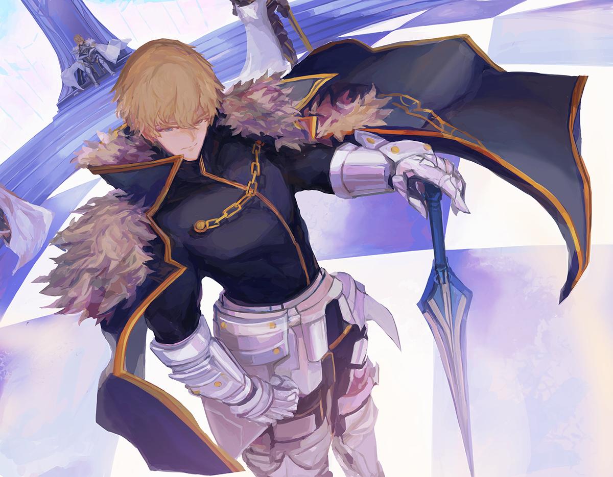 armor artoria_pendragon_(all) artoria_pendragon_(lancer) blue_eyes brown_hair cape chain elbow_gloves fate/grand_order fate_(series) gawain gloves male short_hair sword taitaip weapon