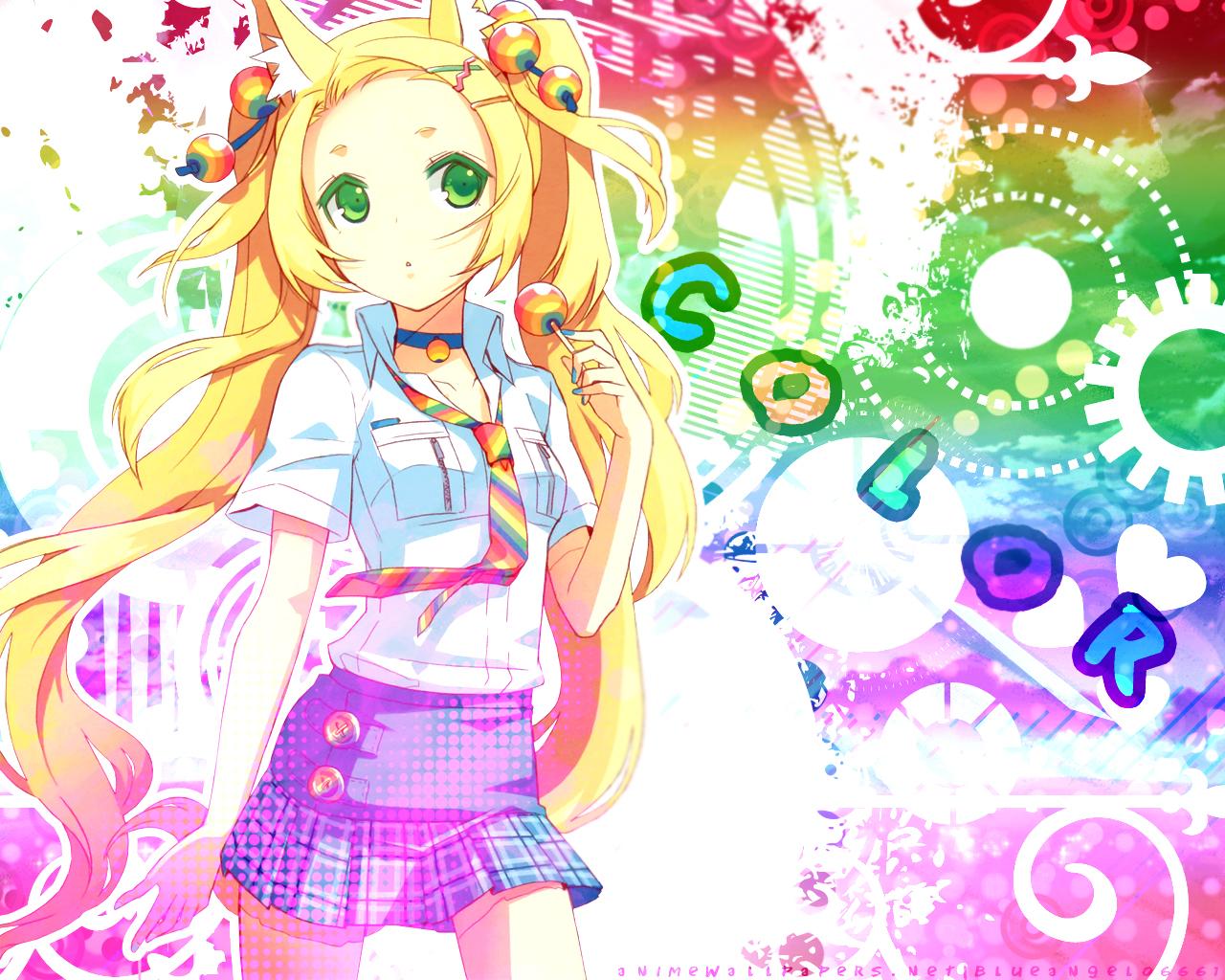 animal_ears blonde_hair candy feathers foxgirl green_eyes h2so4 island_of_horizon lollipop original rainbow tail twintails