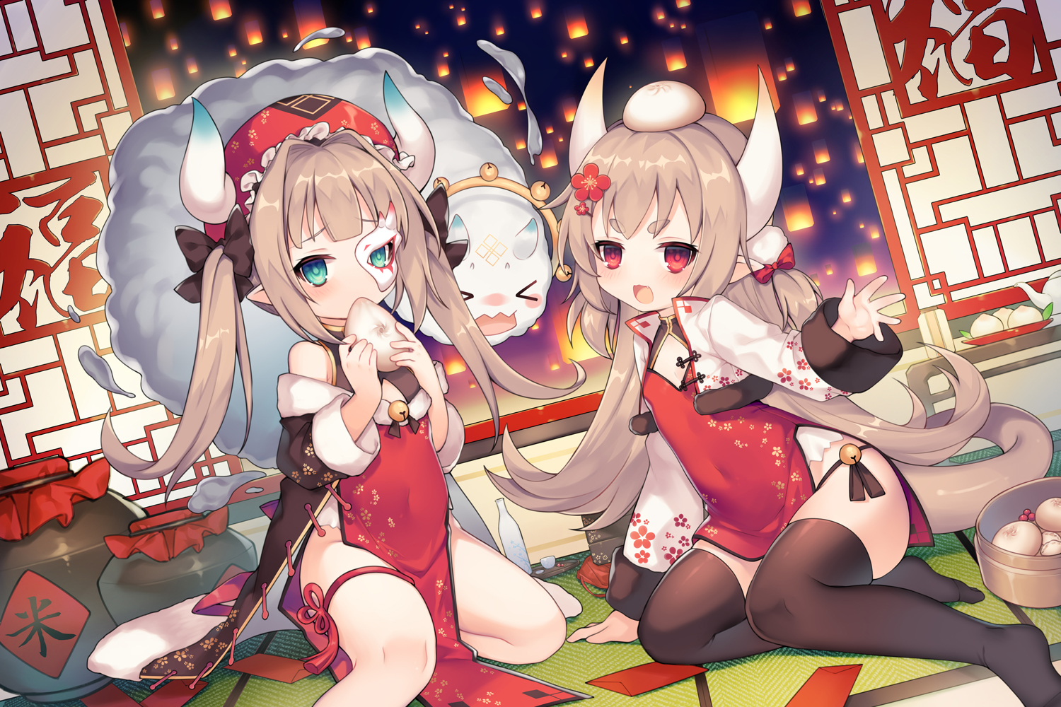 2girls ark_order brown_hair chinese_clothes chinese_dress food green_eyes hat horns loli long_hair mask pointed_ears red_eyes tagme_(character) tail thighhighs twintails utm