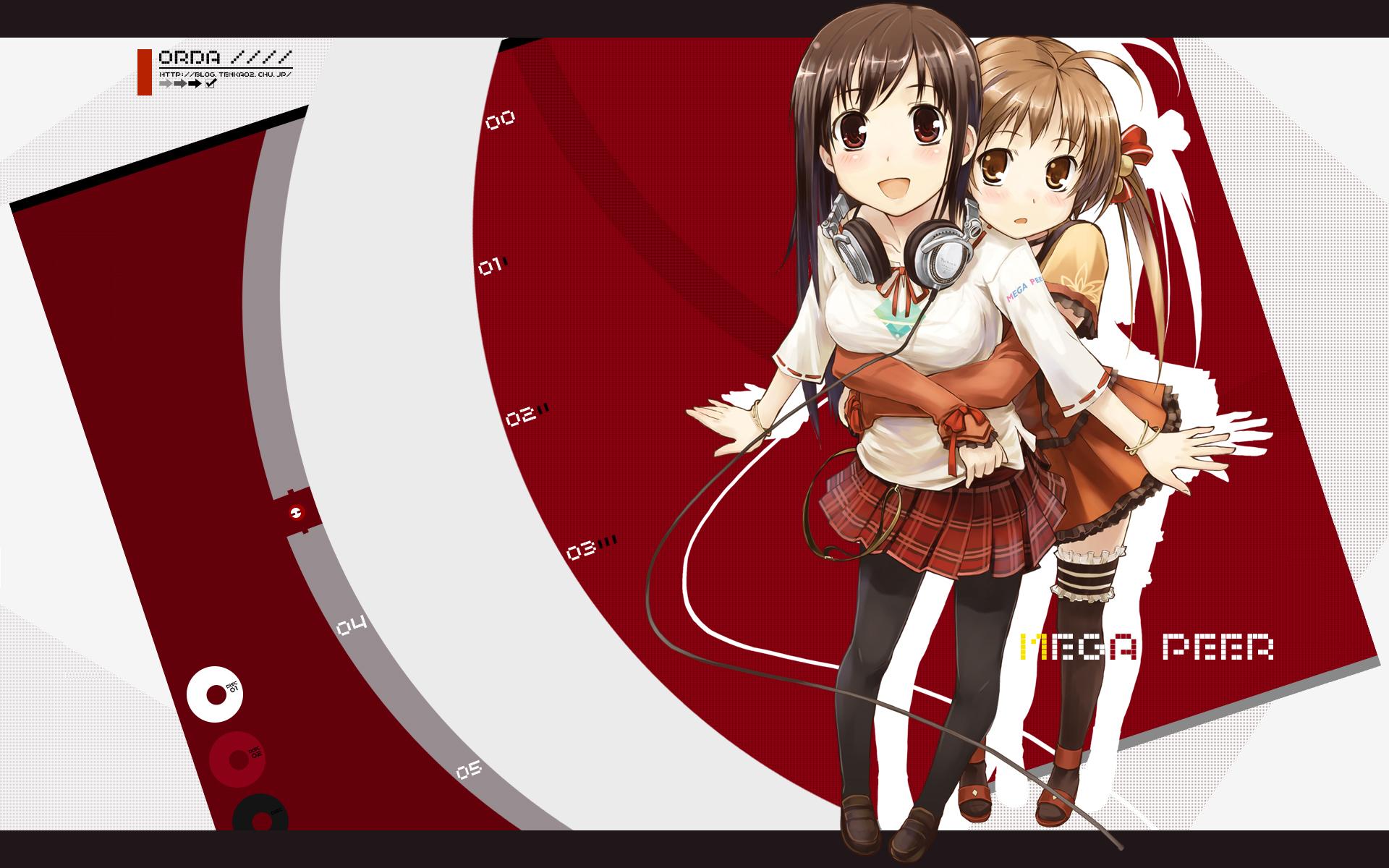 2girls amagai_tarou bow brown_eyes brown_hair headphones hug pantyhose ribbons stockings