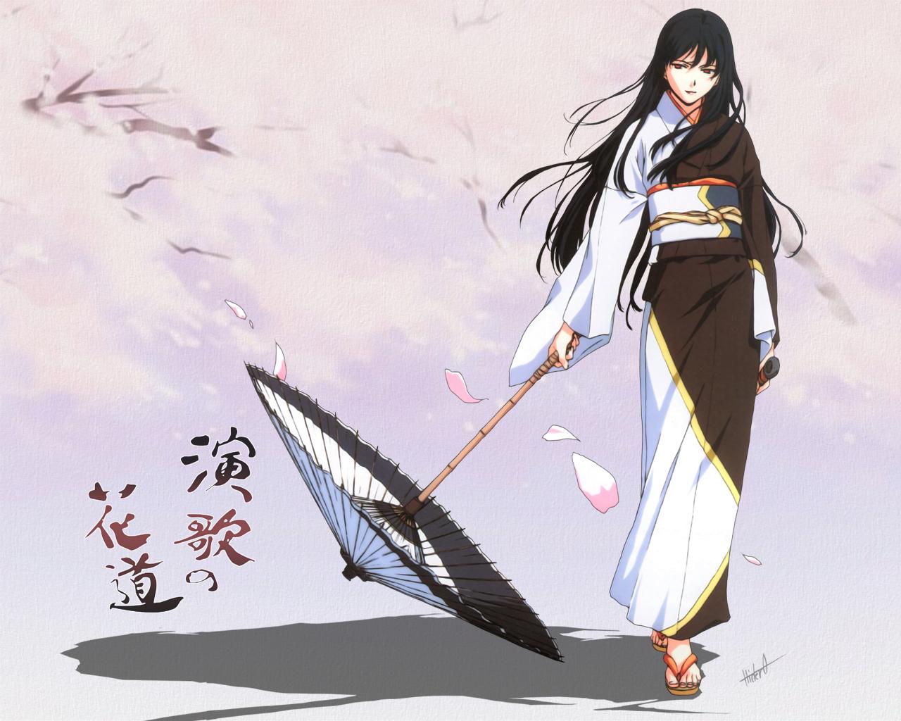 horibe_hiderou japanese_clothes umbrella yukata