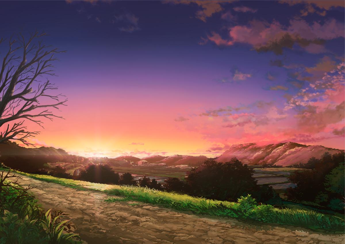 aruken building city clouds grass nobody original scenic sky sunset tree