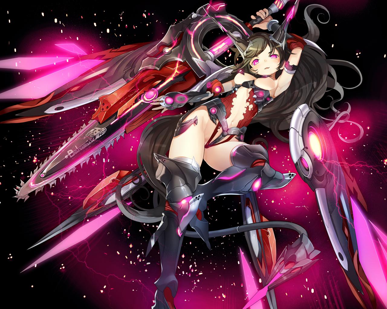 black_hair bodysuit chainsaw leotard long_hair mechagirl navel original purple_eyes sword weapon yam2344