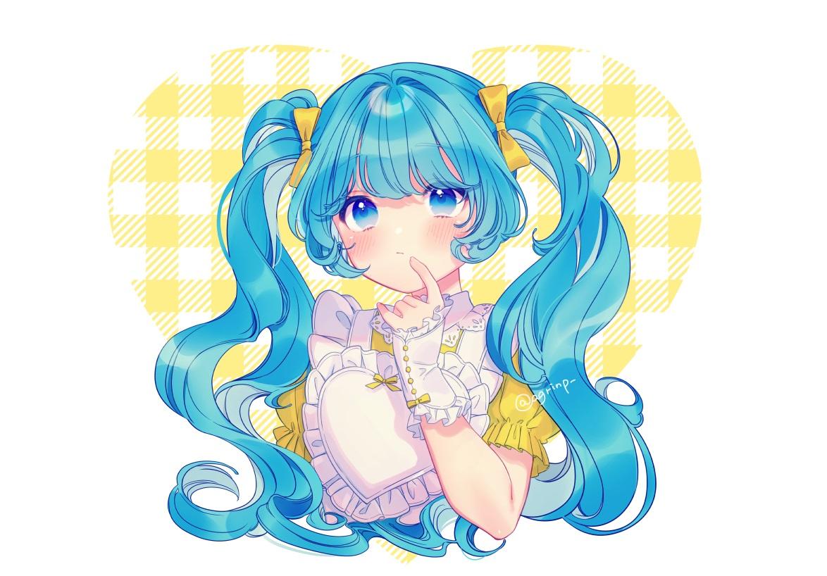 apron aqua_eyes aqua_hair blush bow hatsune_miku heart lolita_fashion long_hair rinndouk signed twintails vocaloid wristwear