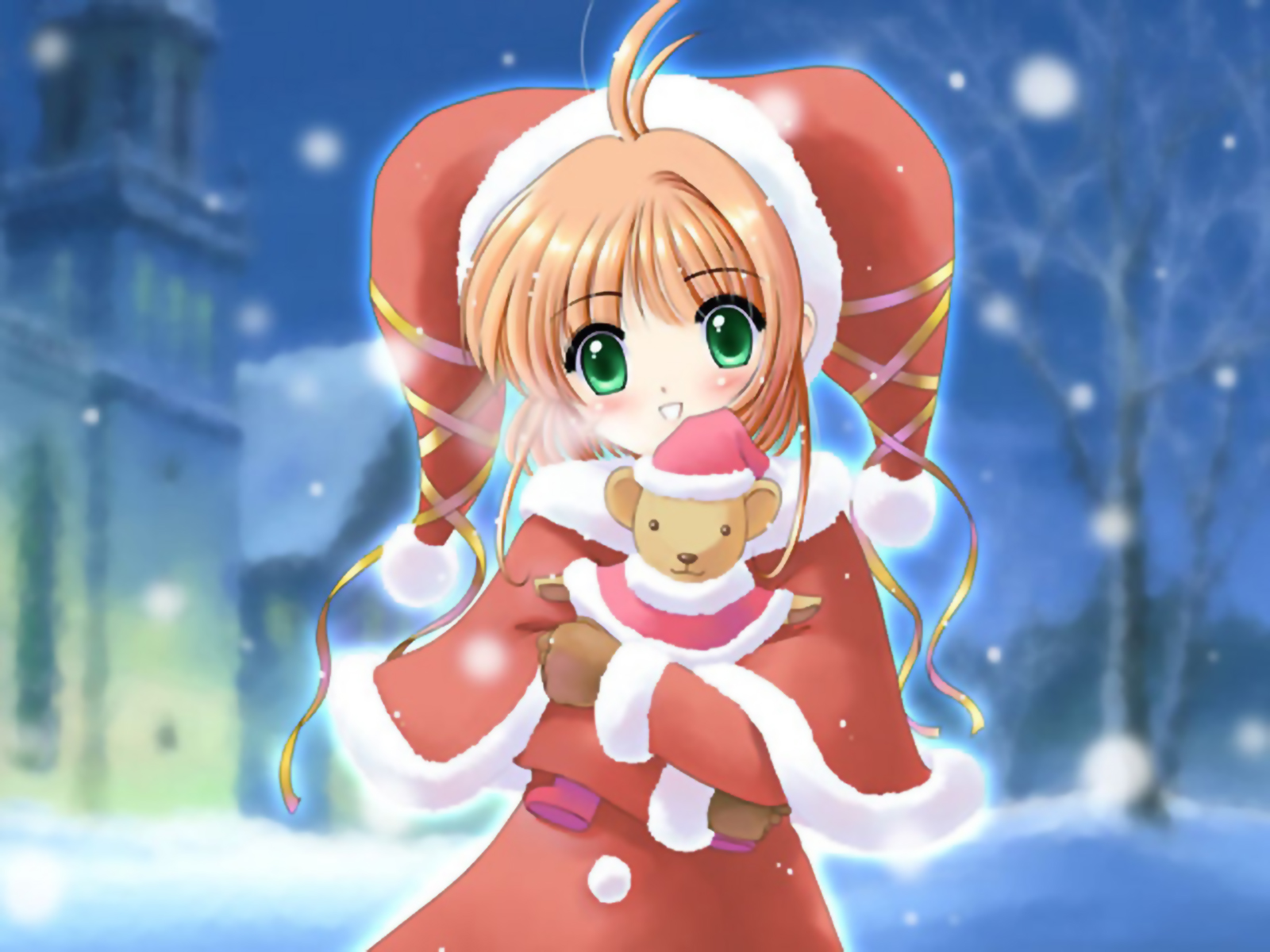 card_captor_sakura christmas green_eyes hat kinomoto_sakura orange_hair teddy_bear