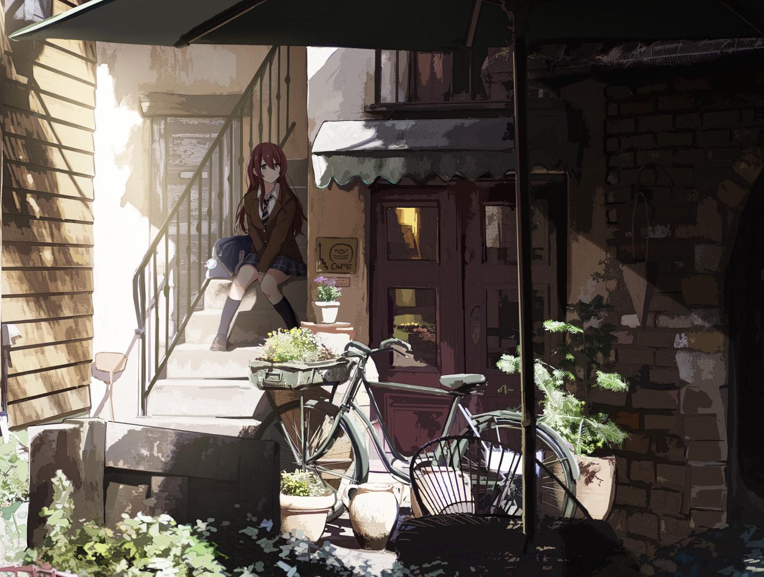 bicycle idolmaster idolmaster_shiny_colors kneehighs oosaki_tenka sakeharasu scenic school_uniform shade stairs summer