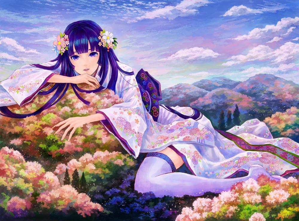 blue_hair clouds flowers forest japanese_clothes kemi_neko kimono long_hair original purple_eyes sky thighhighs tree zettai_ryouiki