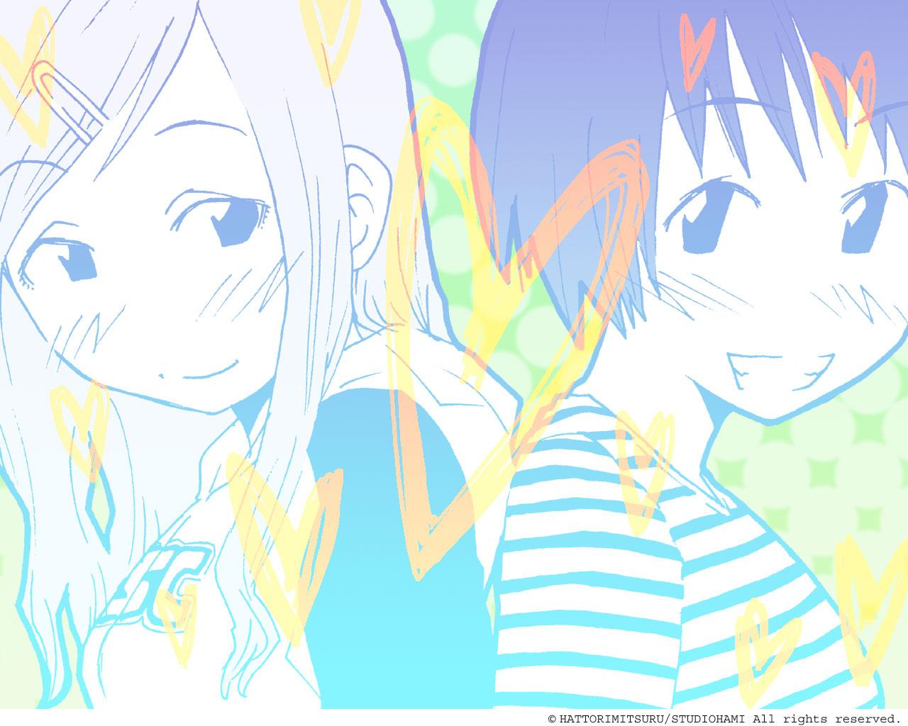 2girls close concerto fukagawa_ino hattori_mitsuru monochrome oosawa_hitomi watermark
