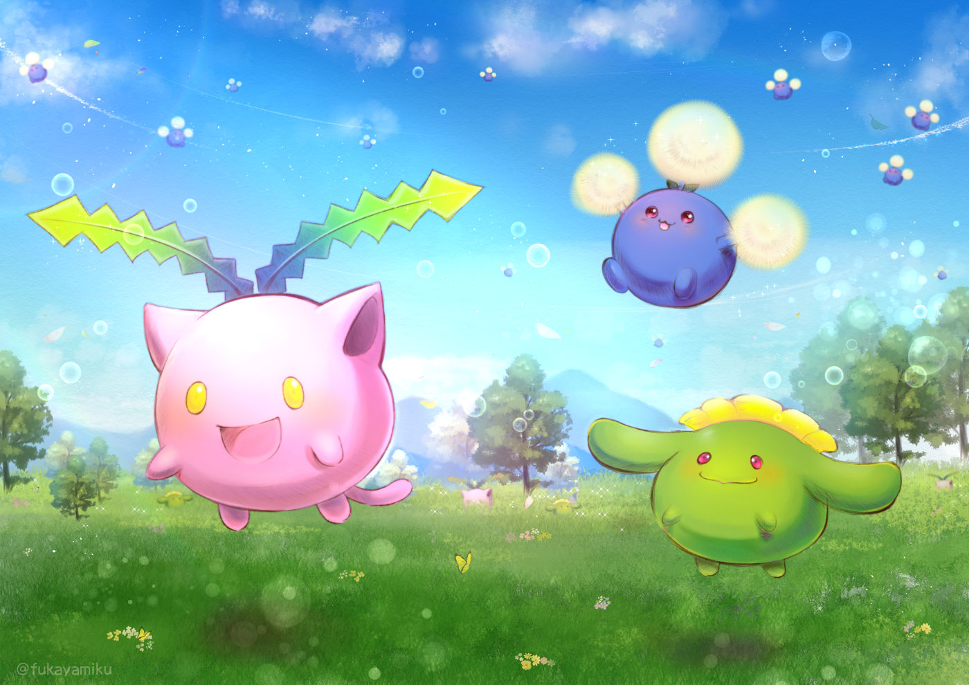 butterfly cat_smile clouds fukaya_miku grass hoppip jumpluff nobody pokemon scenic skiploom sky watermark