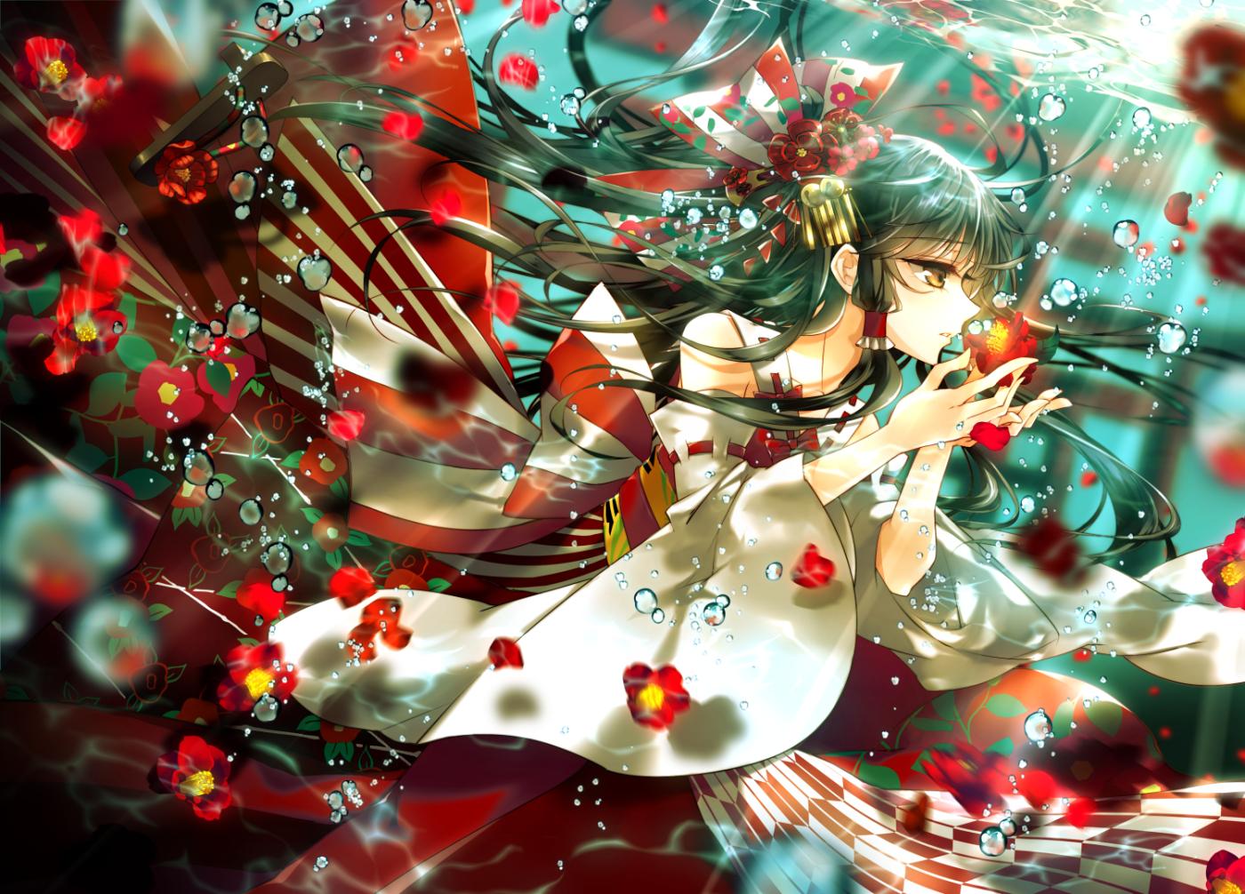bubbles flowers hakurei_reimu japanese_clothes lilithbloody miko touhou underwater water