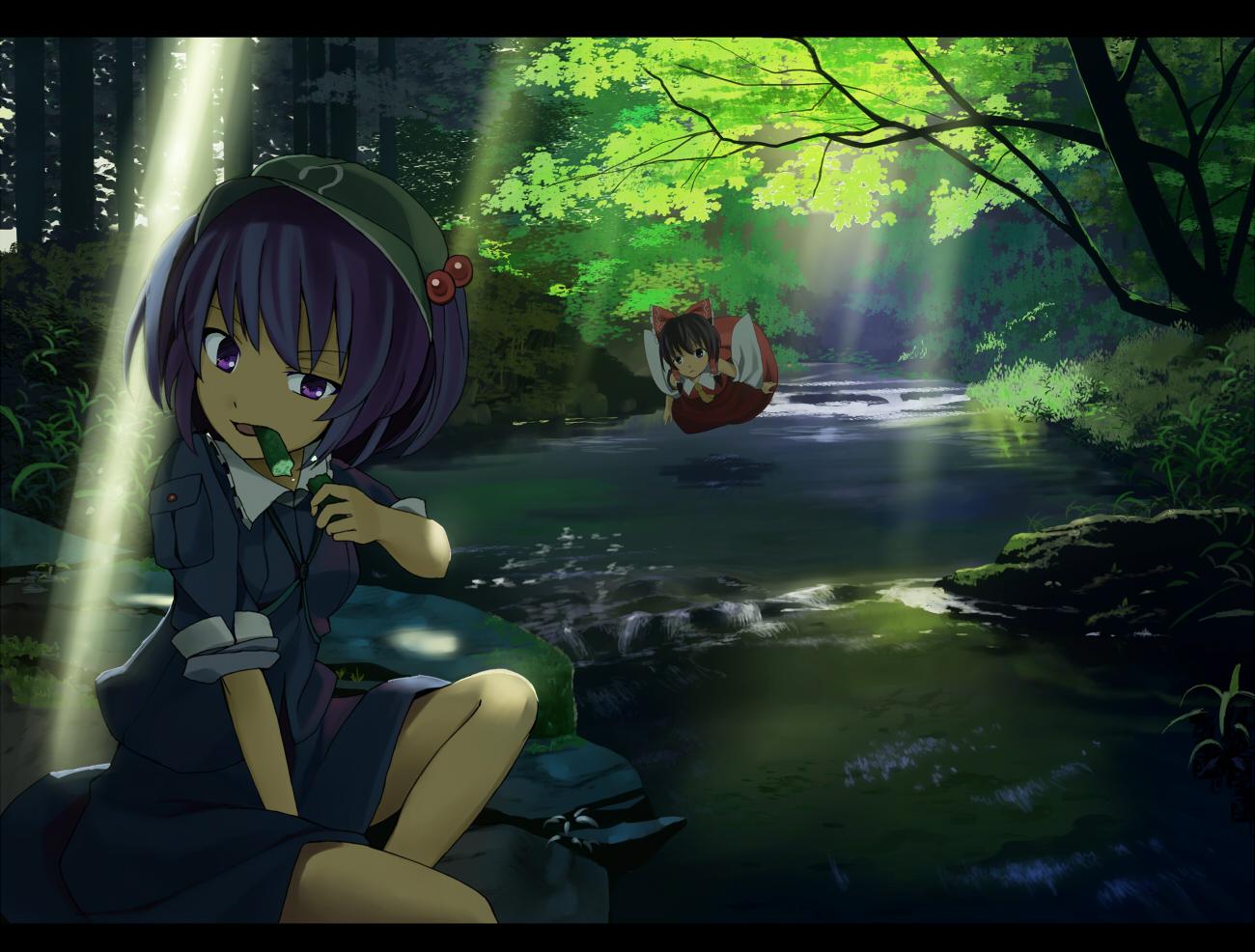 bow brown_eyes brown_hair dress forest hakurei_reimu hat japanese_clothes kawashiro_nitori miko purple_eyes purple_hair short_hair touhou tree water