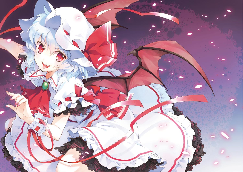 blood blue_hair dress hat mottsun red_eyes remilia_scarlet ribbons short_hair touhou vampire wings