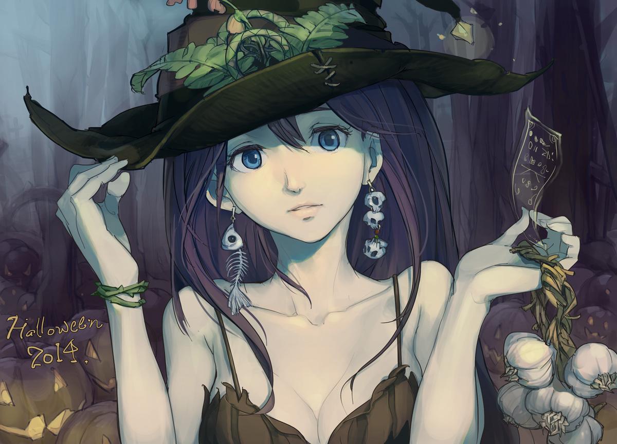 blue_eyes bones breasts brown_hair cleavage food halloween hat long_hair ofuda original pumpkin sketch skull tennohi wristwear