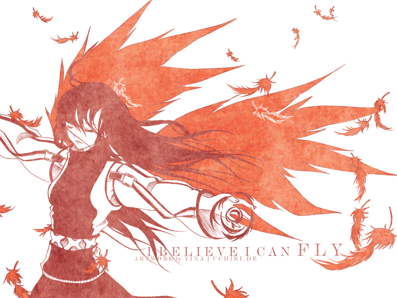 feathers long_hair polychromatic red tagme_(artist) white wings
