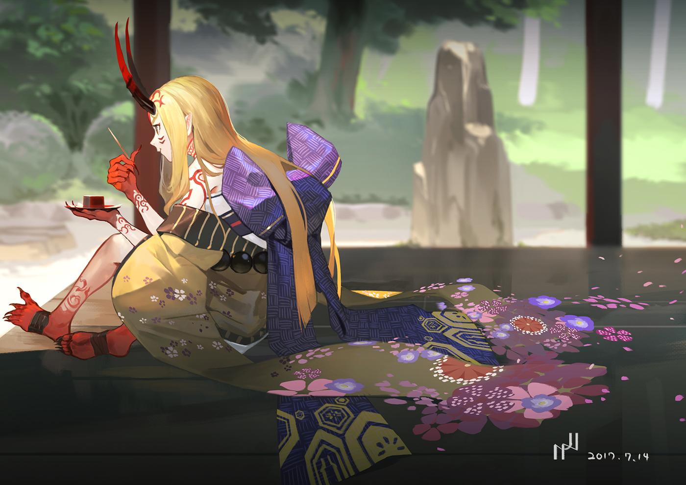 blonde_hair brown_eyes demon fate/grand_order fate_(series) hako_(mypixid) horns ibaraki_douji_(fate) japanese_clothes long_hair petals pointed_ears tattoo