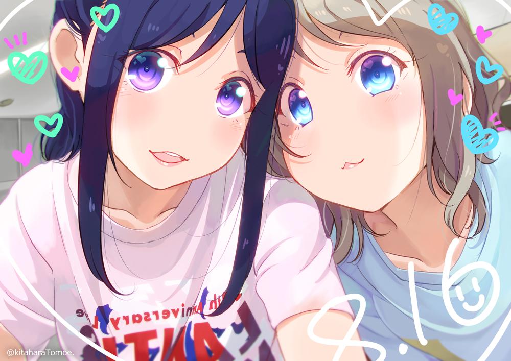 2girls aqua_eyes blue_hair brown_hair cat_smile close heart kitahara_tomoe_(artist) long_hair love_live!_school_idol_project love_live!_sunshine!! matsuura_kanan purple_eyes short_hair watanabe_you watermark