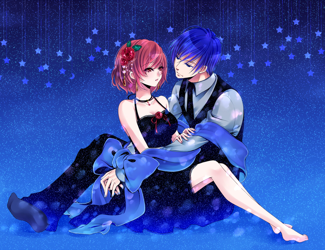 barefoot blue blue_hair bow dress flowers kaito male meiko pink_hair short_hair stars tie totono vocaloid