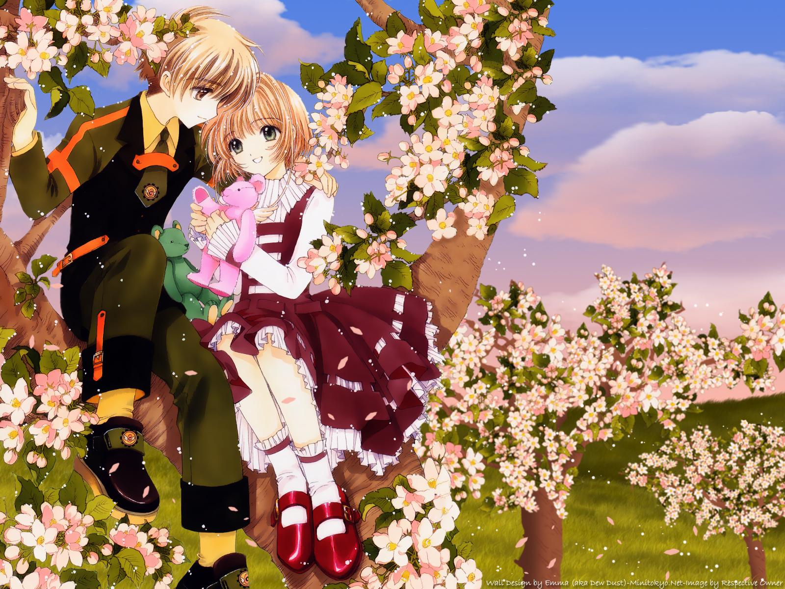 brown_hair card_captor_sakura clamp flowers kinomoto_sakura li_syaoran petals teddy_bear tree