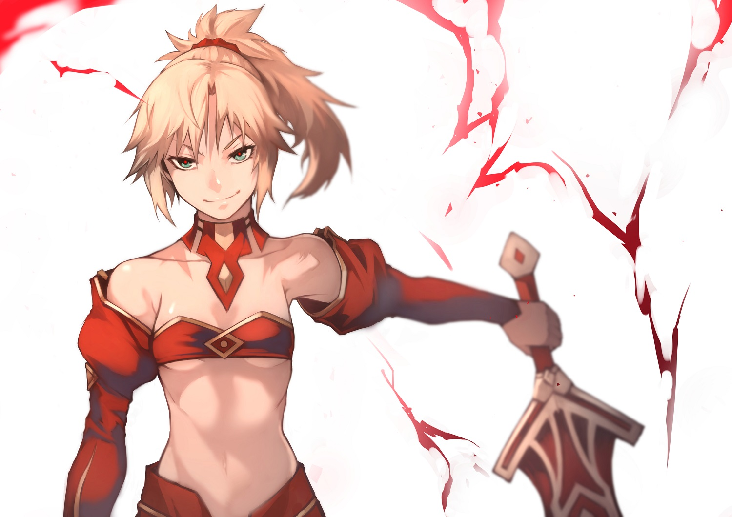 55level blonde_hair fate/grand_order fate_(series) green_eyes long_hair mordred navel ponytail sword underboob weapon white