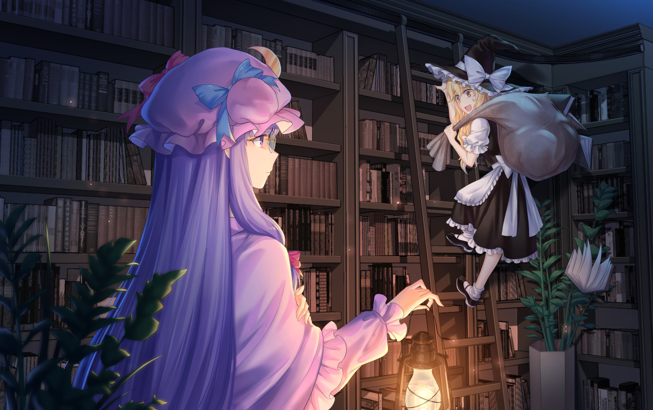 aliasing apron blonde_hair book bow dress glasses hat kirisame_marisa long_hair patchouli_knowledge purple_eyes purple_hair stairs touhou witch witch_hat wuxu_you_de_zuobiao yellow_eyes