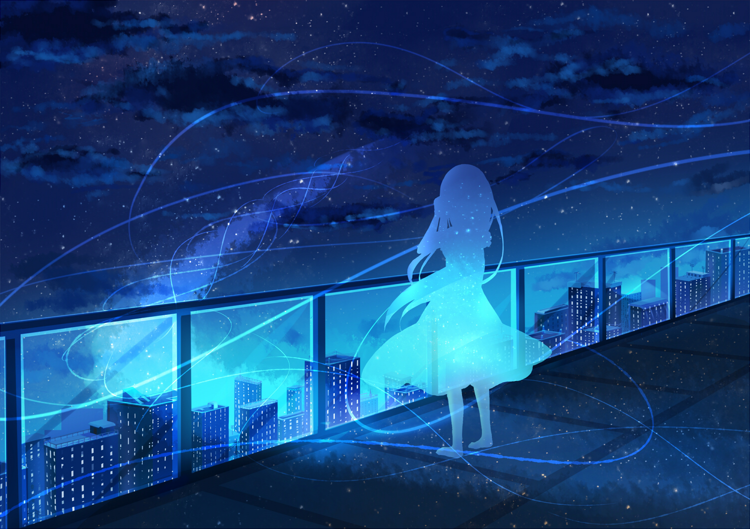 blue building city monochrome night original rooftop scenic silhouette stars yue_yue
