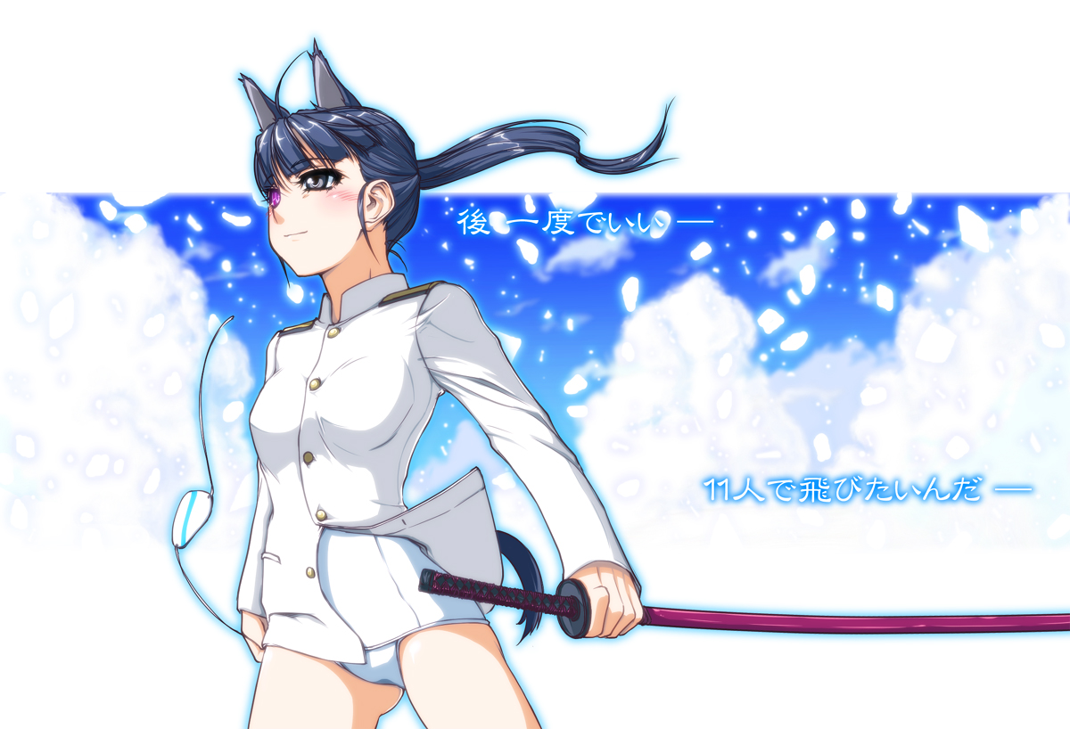 animal_ears bicolored_eyes clouds katana panties sakamoto_mio strike_witches sword tail underwear weapon white
