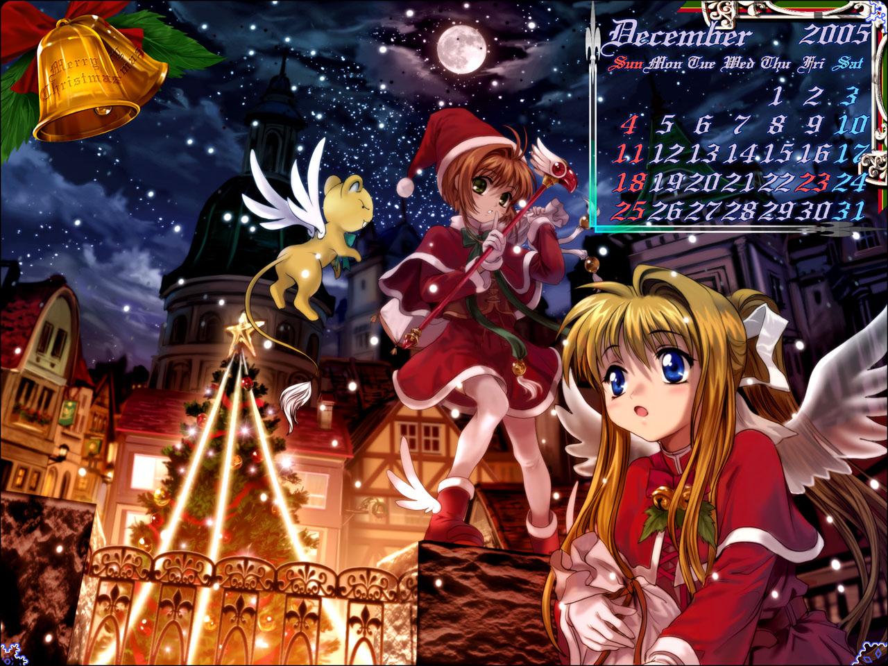 air calendar card_captor_sakura christmas kamio_misuzu kero kinomoto_sakura moonknives wings