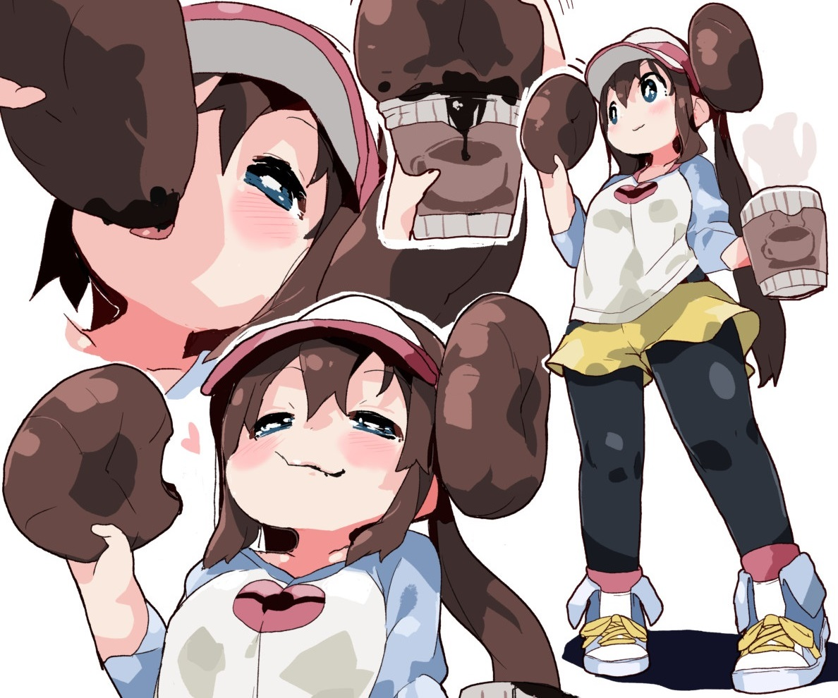 blue_eyes blush brown_hair cropped drink food hat long_hair mei_(pokemon) mossgreen pantyhose pokemon shorts twintails