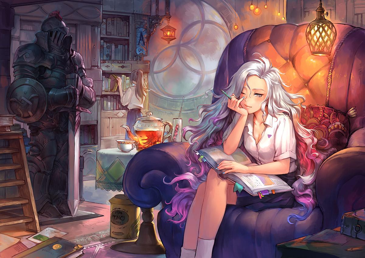 2girls armor book dark_skin drink gray_eyes jpeg_artifacts long_hair original patipat_asavasena ponytail school_uniform shirt skirt socks white_hair wink