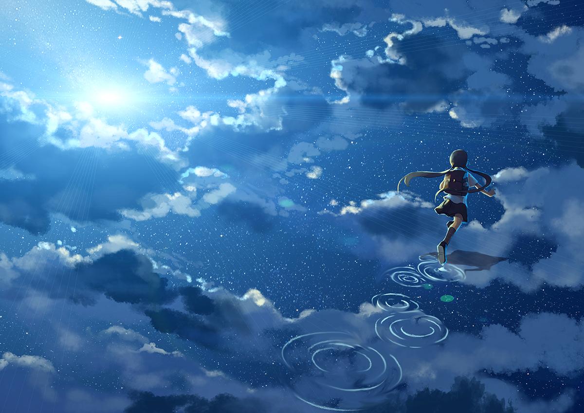clouds kklaji008 night original scenic sky stars twintails