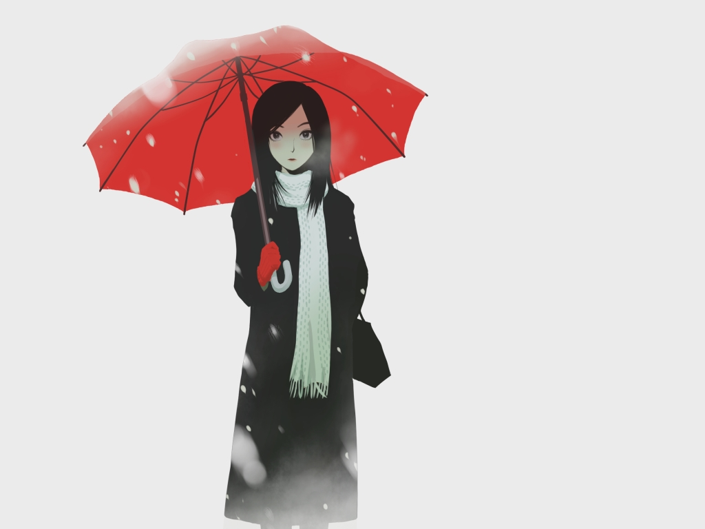 black_eyes black_hair original polychromatic scarf snow umbrella white winter