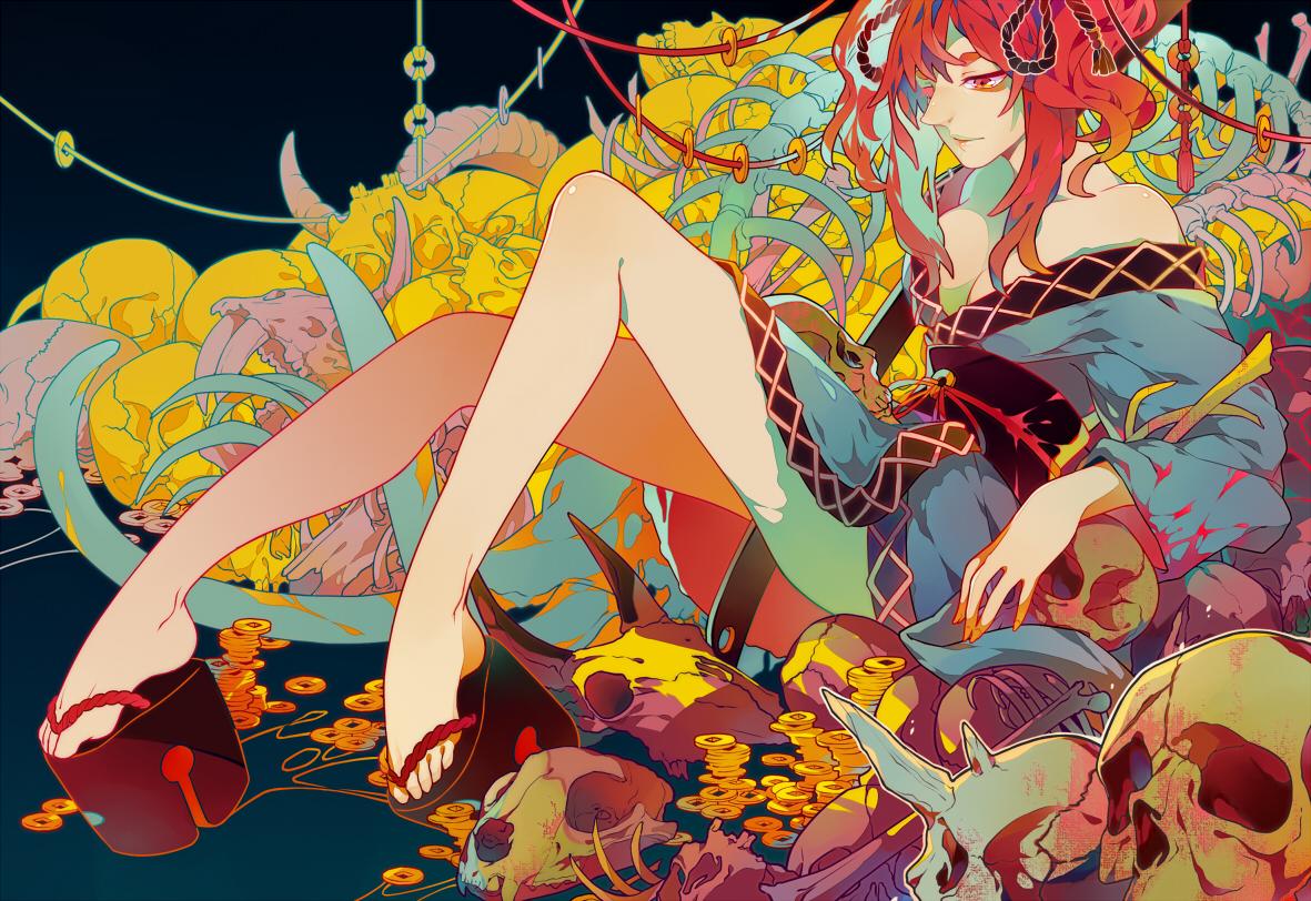 barefoot bones onozuka_komachi qiangzi red_eyes red_hair skull touhou twintails
