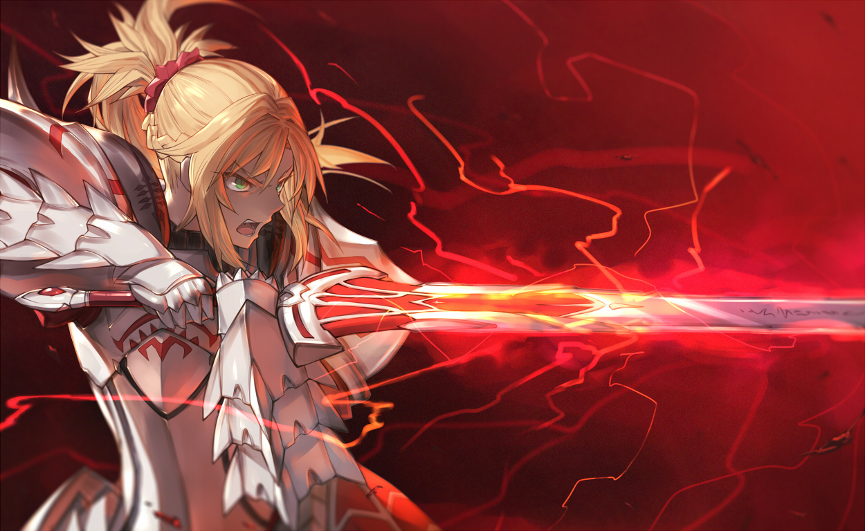 armor blonde_hair braids fate/apocrypha fate/grand_order fate_(series) green_eyes magic mordred ponytail red sword teko weapon