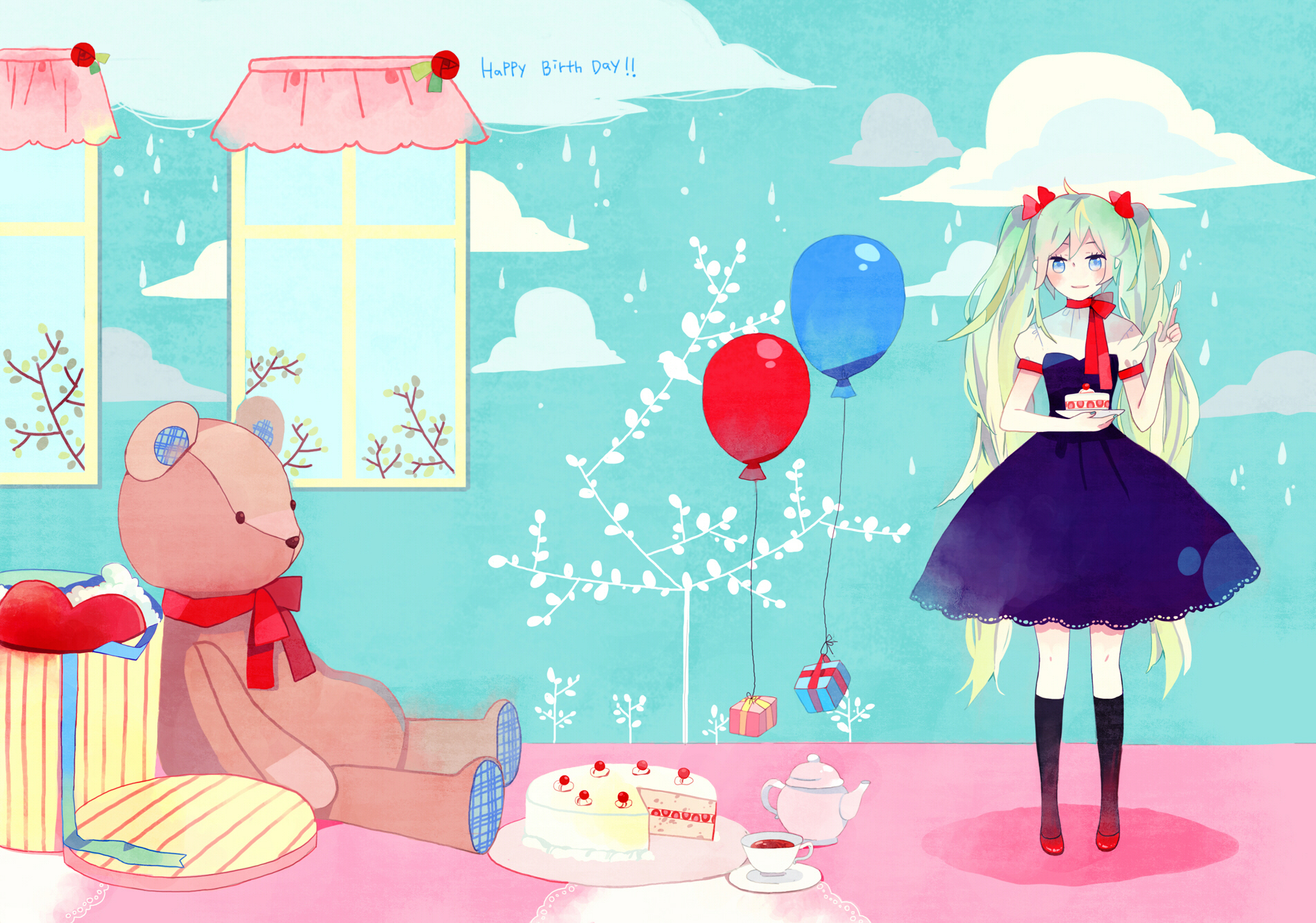 cake clouds dress food hatsune_miku kyang692 rain teddy_bear twintails vocaloid water