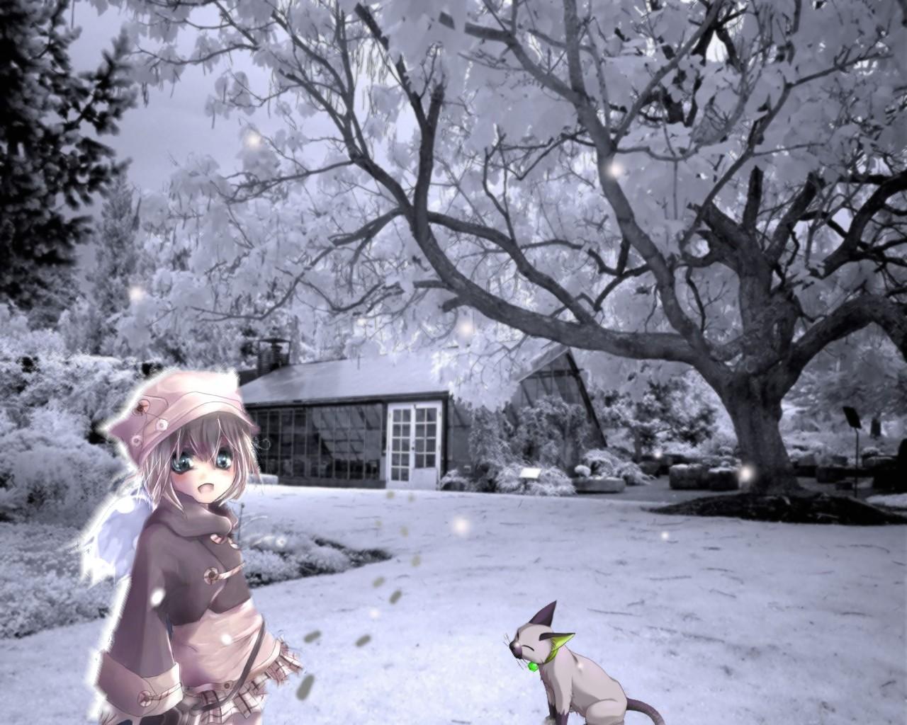 animal blonde_hair building cat green_eyes hat short_hair skirt snow tree winter
