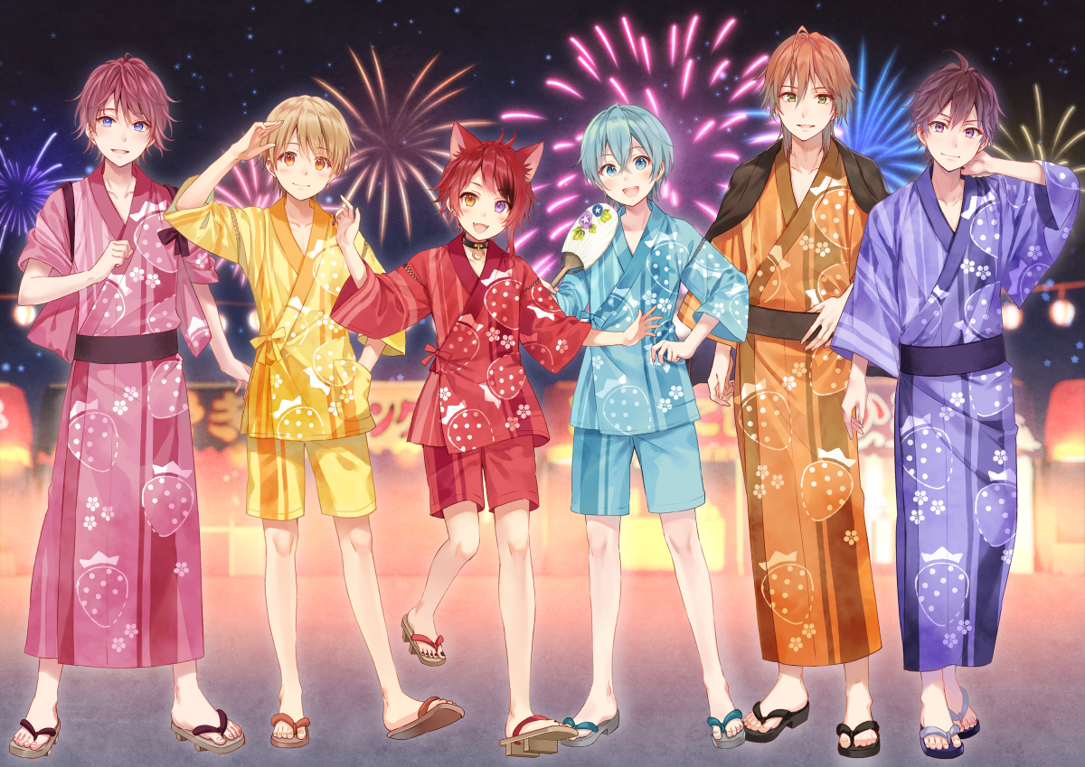 aliasing all_male animal_ears aqua_eyes aqua_hair bicolored_eyes blonde_hair blue_eyes brown_eyes brown_hair catboy collar fan fang festival fireworks fukahire_sanba green_eyes japanese_clothes male orange_eyes red_hair short_hair shorts summer yukata