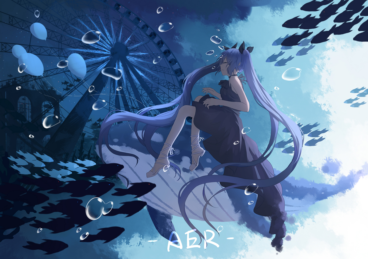 ajisashihou animal blue_hair bubbles deep-sea_girl_(vocaloid) fish hatsune_miku long_hair signed twintails underwater vocaloid water