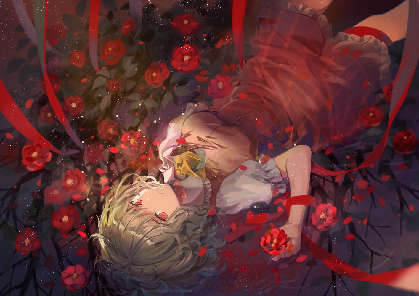 dress elise_(piclic) flowers green_hair kazami_yuuka red_eyes ribbons short_hair touhou