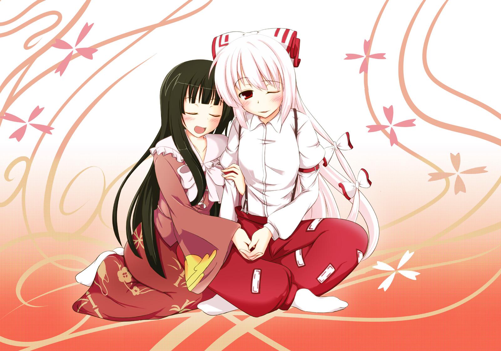 black_hair blush fujiwara_no_mokou houraisan_kaguya japanese_clothes long_hair red_eyes ribbons touhou white_hair wink