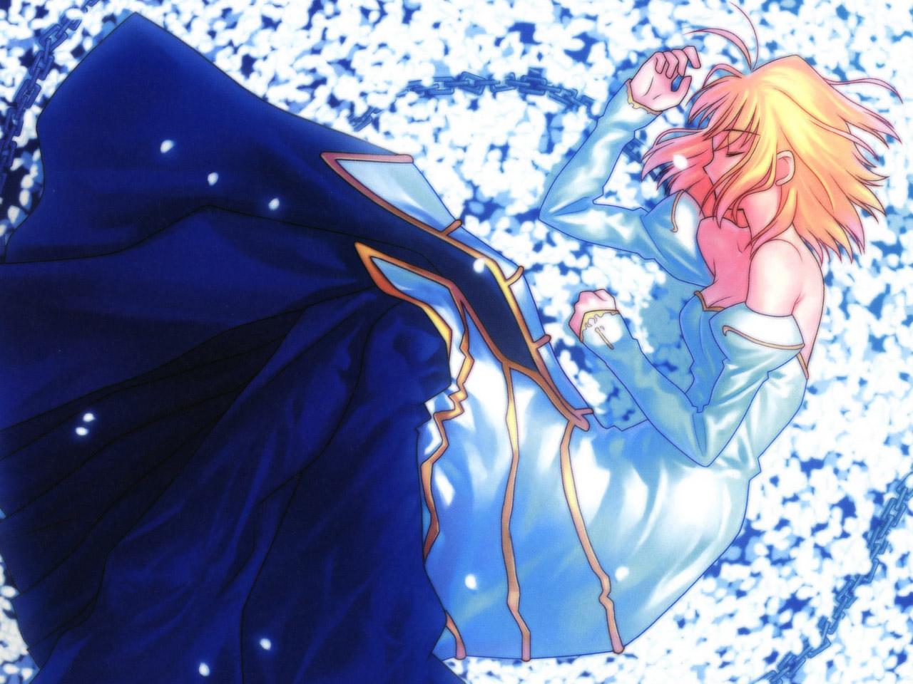 arcueid_brunestud blonde_hair chain dress petals shingetsutan_tsukihime short_hair
